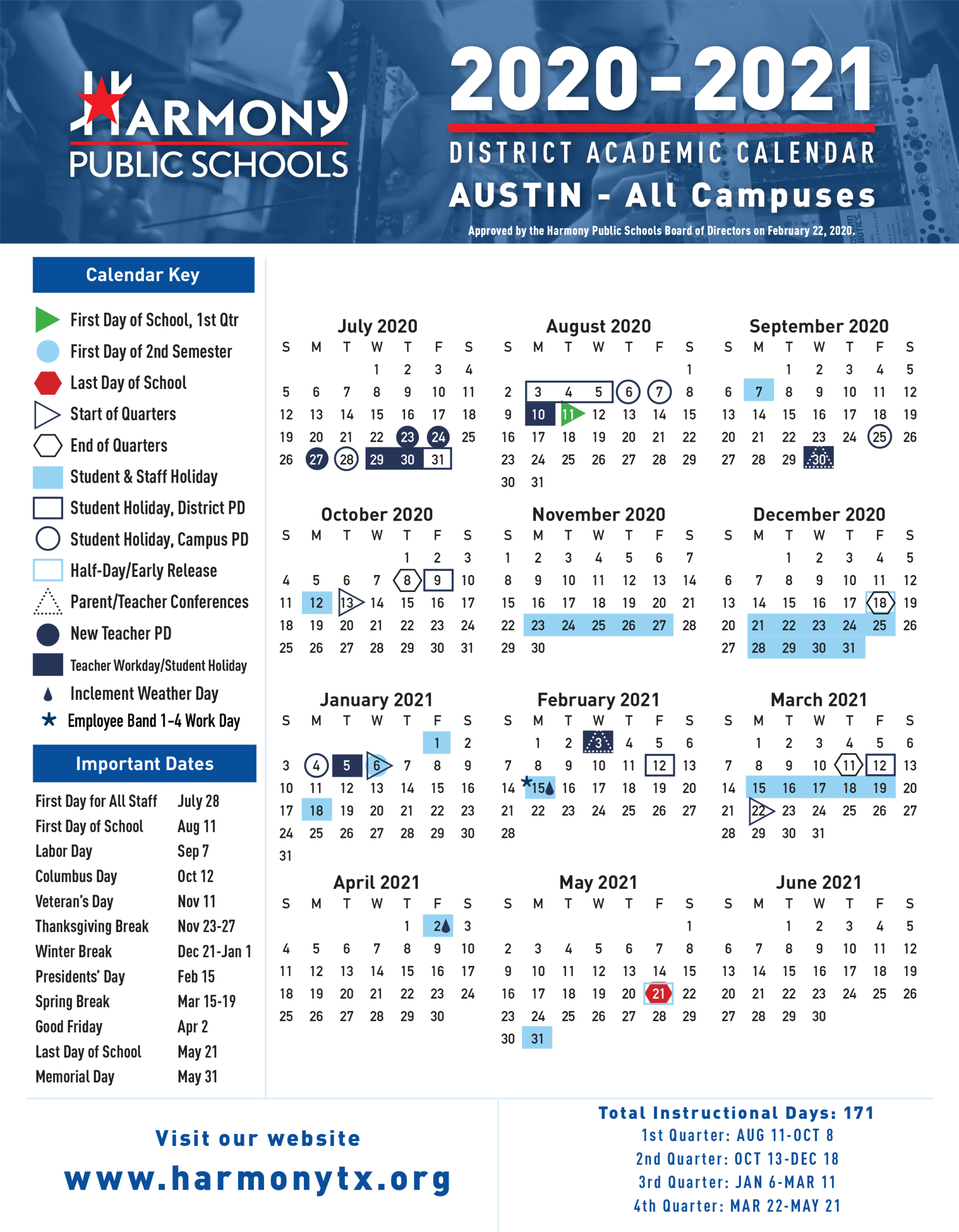 Austin Calendar One-Pager 2020-2021